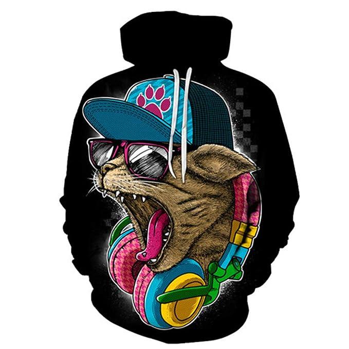 B-Pertand Cat & Music Sudadera con Estampado 3D para Hombre Mujer Sudaderas con Capucha Streetwear Chándal Pulover: Amazon.es: Ropa y accesorios