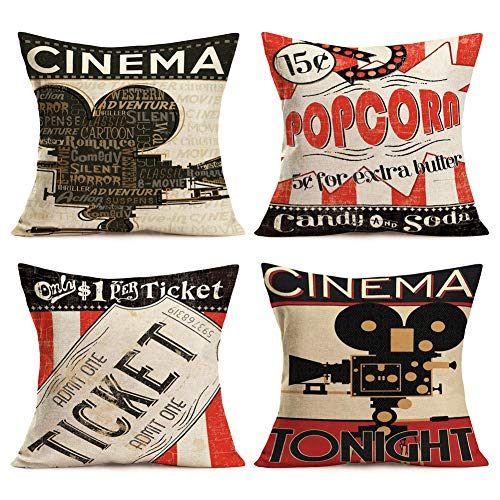Movie Theater Pillow Covers Cotton Linen Vintage Cinema Background Cinema Poster Design Throw Pillow Cases with Popcorn/Filmstrip/Ticket Cushion Cover Home Sofa Decor 18