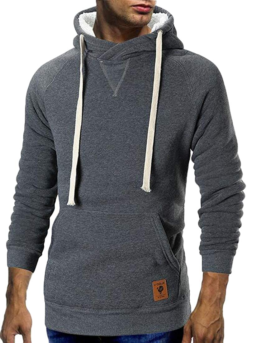 pipigo Mens Solid Color Slim Hipster Fleece Lined Thicken Sweatshirt Pullover Hoodie