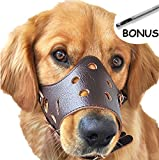 Adjustable Leather Dog Muzzles - Lightweight Durable - for Anti-biting Anti-barking Anti-chewing Safety Protection (M - Brown)