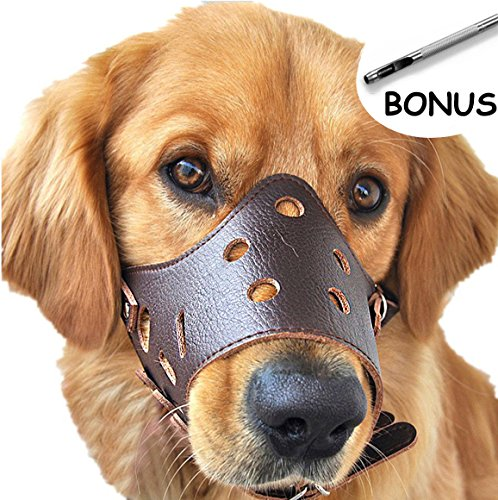 Sevicat Adjustable Leather Dog Muzzles, Lightweight Durable, for Anti-Biting Anti-Barking Anti-Chewing Safety Protection (L, Brown)