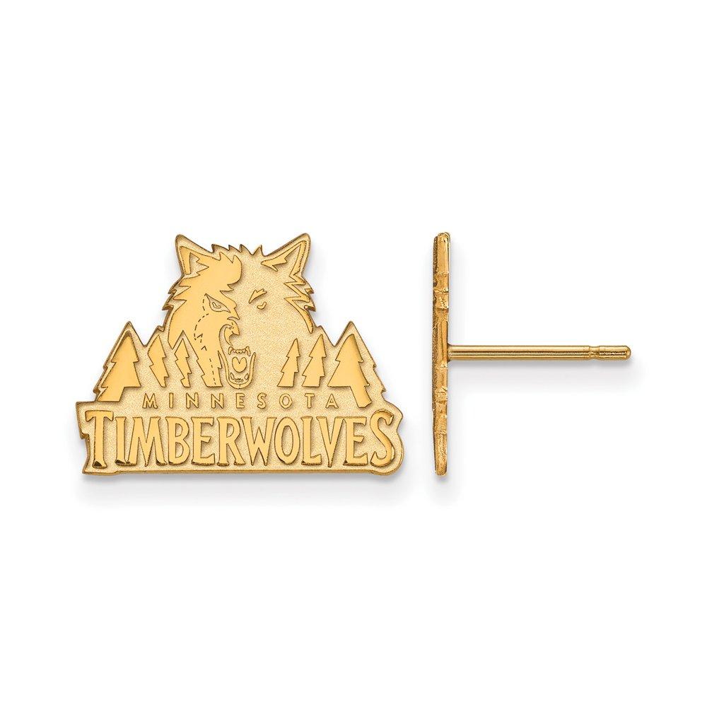 NBA Minnesota Timberwolves Post Earrings in 10K Yellow Gold