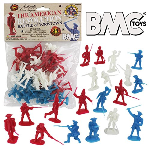 War Figure Plastic (BMC Revolutionary War Plastic Army Men - 34 British, American, French Soldiers)
