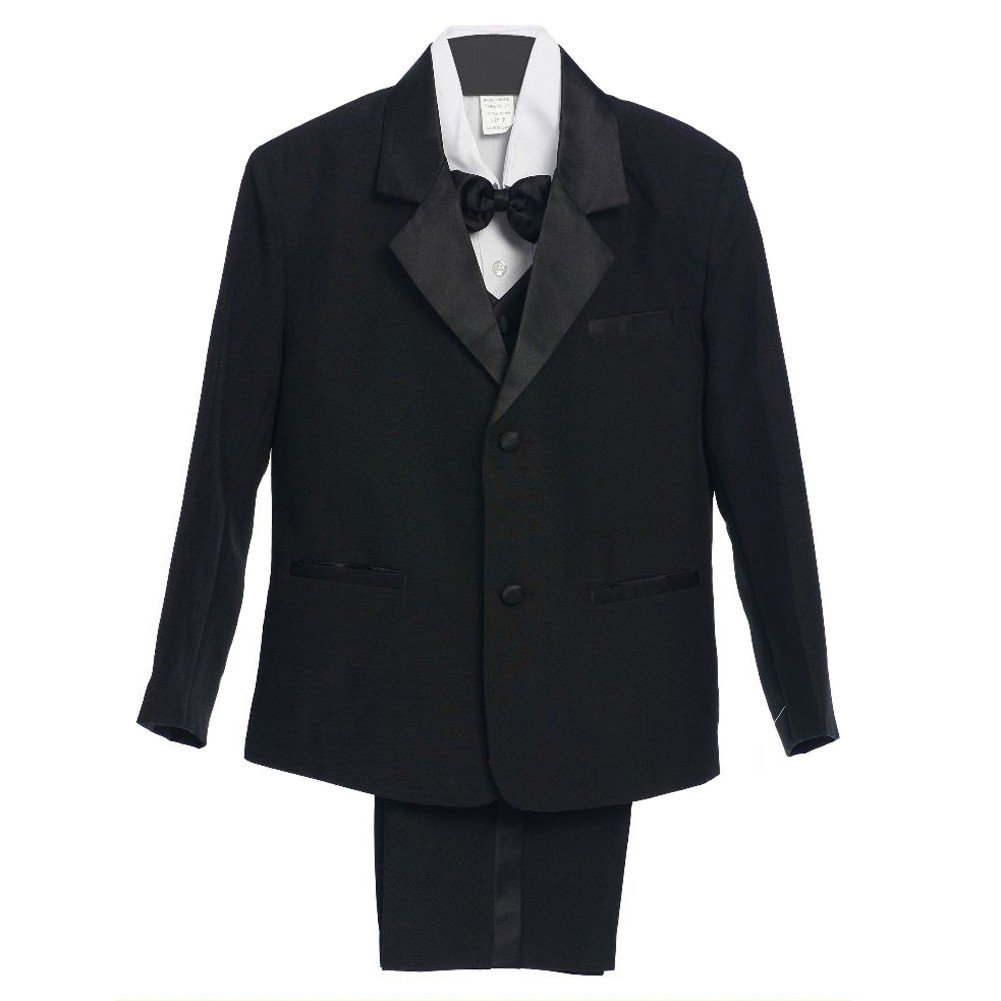Baby Boys Black 5 Piece Vest Jacket Pants Special Occasion Tuxedo Suit 3-24M Rafael Collection