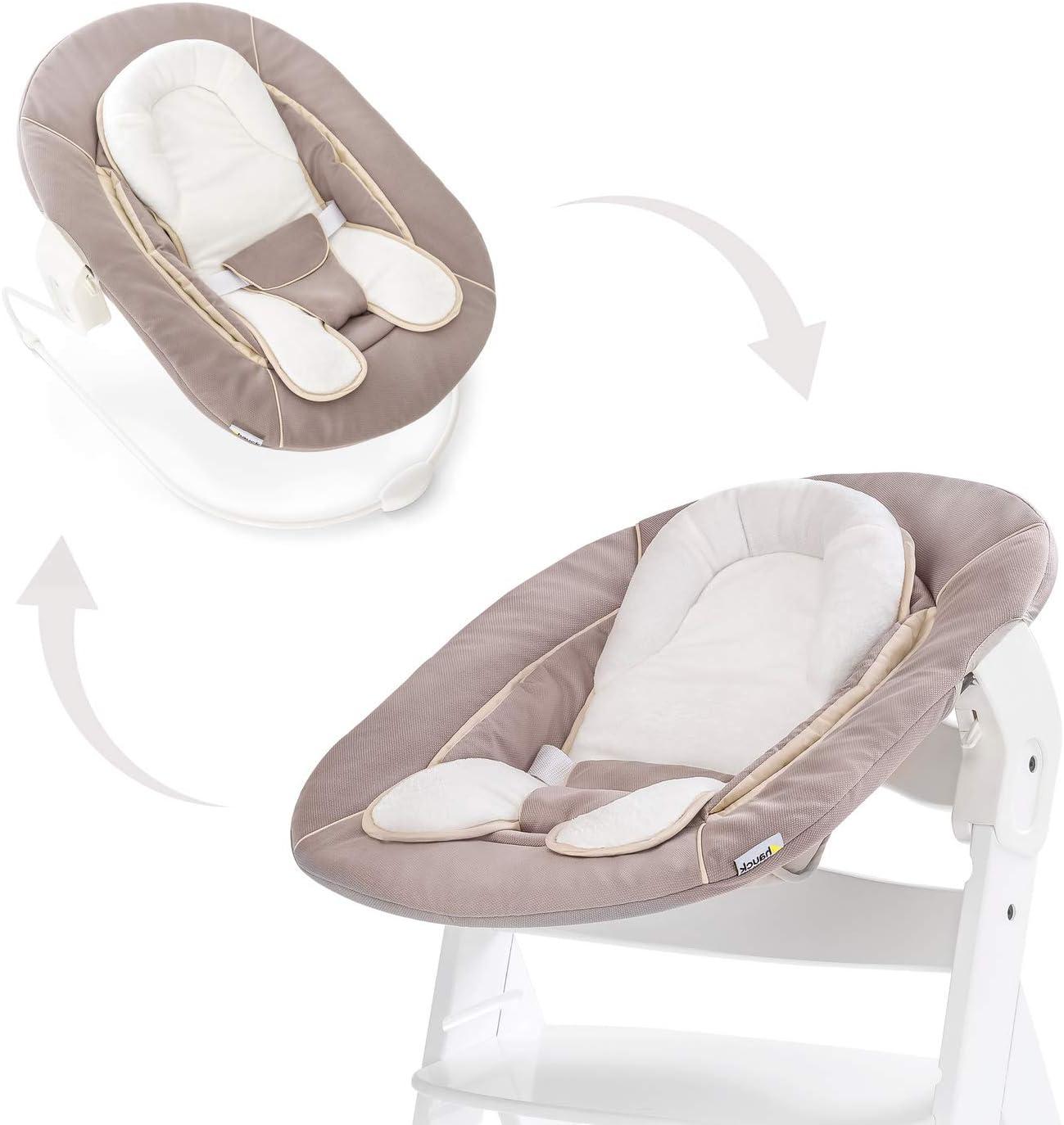 Hauck Alpha Bouncer - 2 en 1 para recién nacido, hamaca de tejido suave, combinable con trona de madera evolutiva Alpha+ y Beta+ de HAUCK, incluido reductor, mecedora para bebes, Strech Beige