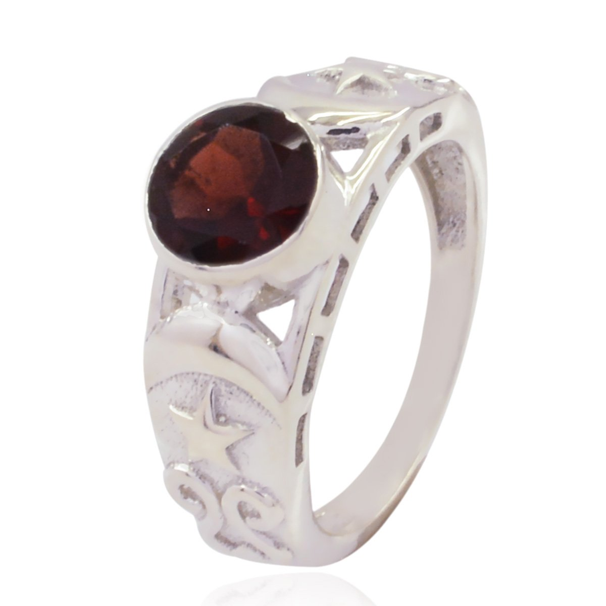 925 Silver Red Garnet Lucky Gemstone Ring Good Jewellery Items Gift for Graduation Good Rings Lucky Gemstone Round Faceted Garnet Ring