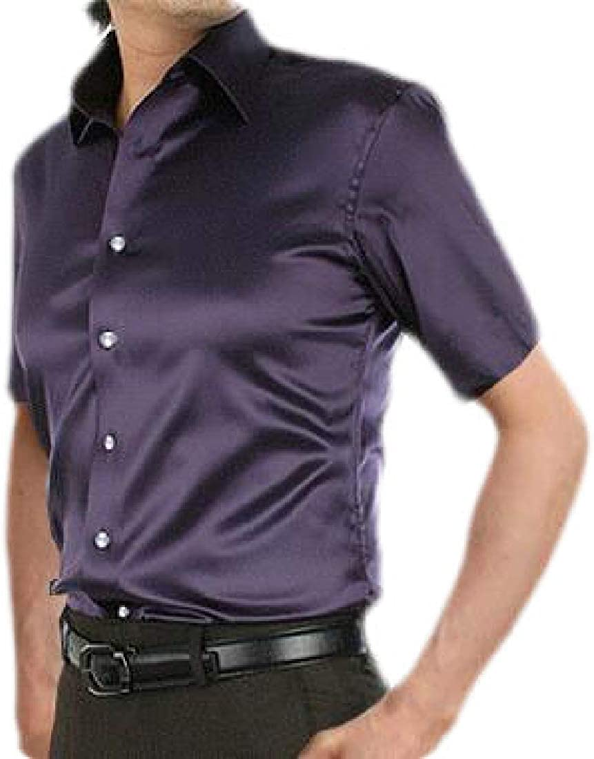 WSPLYSPJY Mens Satin Luxury Dress Shirt Slim Casual Party Short Sleeve Fitted Shirt