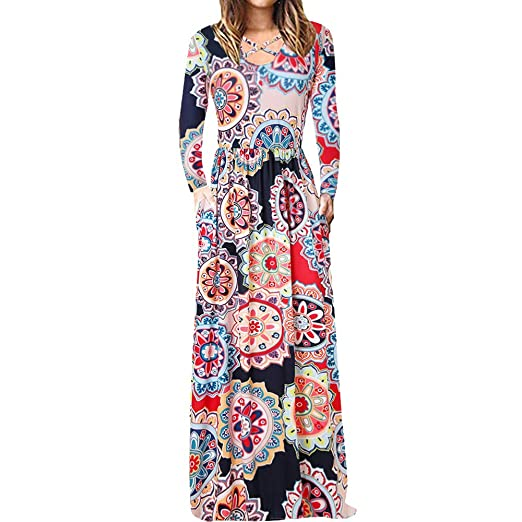 7910ab49116 AMSKY❤Women s Long Sleeve Boho Print Maxi Dress Round Neck Crossover Floral  Print Long Dress Casual Sundress at Amazon Women s Clothing store
