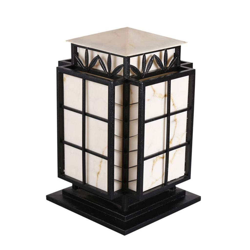 Outdoor Lighting Postal Light Villa Pillar Lamp Outdoor Waterproof Column Lamp Courtyard Wall Lamp Imitation Marble Lamppost Column Lamp, Garden Lawn Lamp (Color : Black, Size : 383860cm)