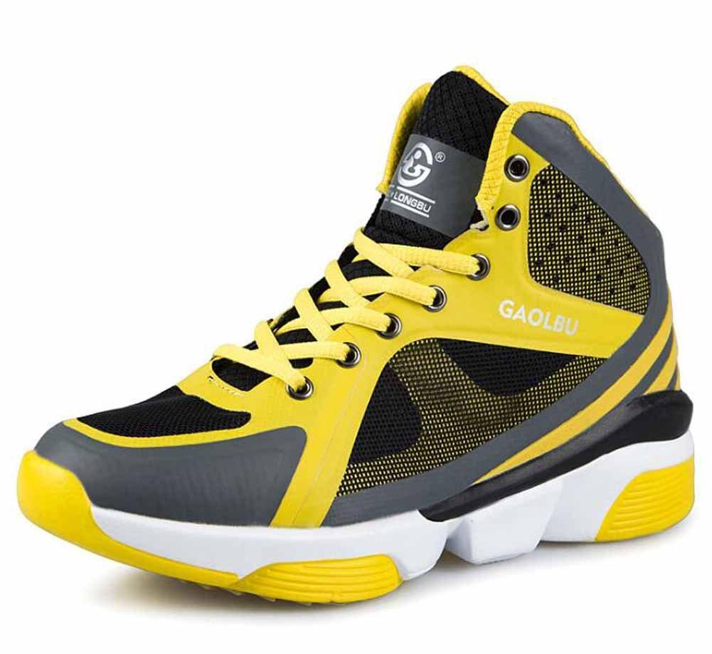 メンズ通気性バスケットボールシューズ秋ハイトップアウトドアスポーツ靴サイズ36 – 45 B07771CSYR イエロー 43