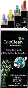 EcoClean Natural Organic Biodegradable Bamboo Toothbrush Eco-Friendly Wood, Ergonomic, Soft BPA Free Bristles, Pack of 4