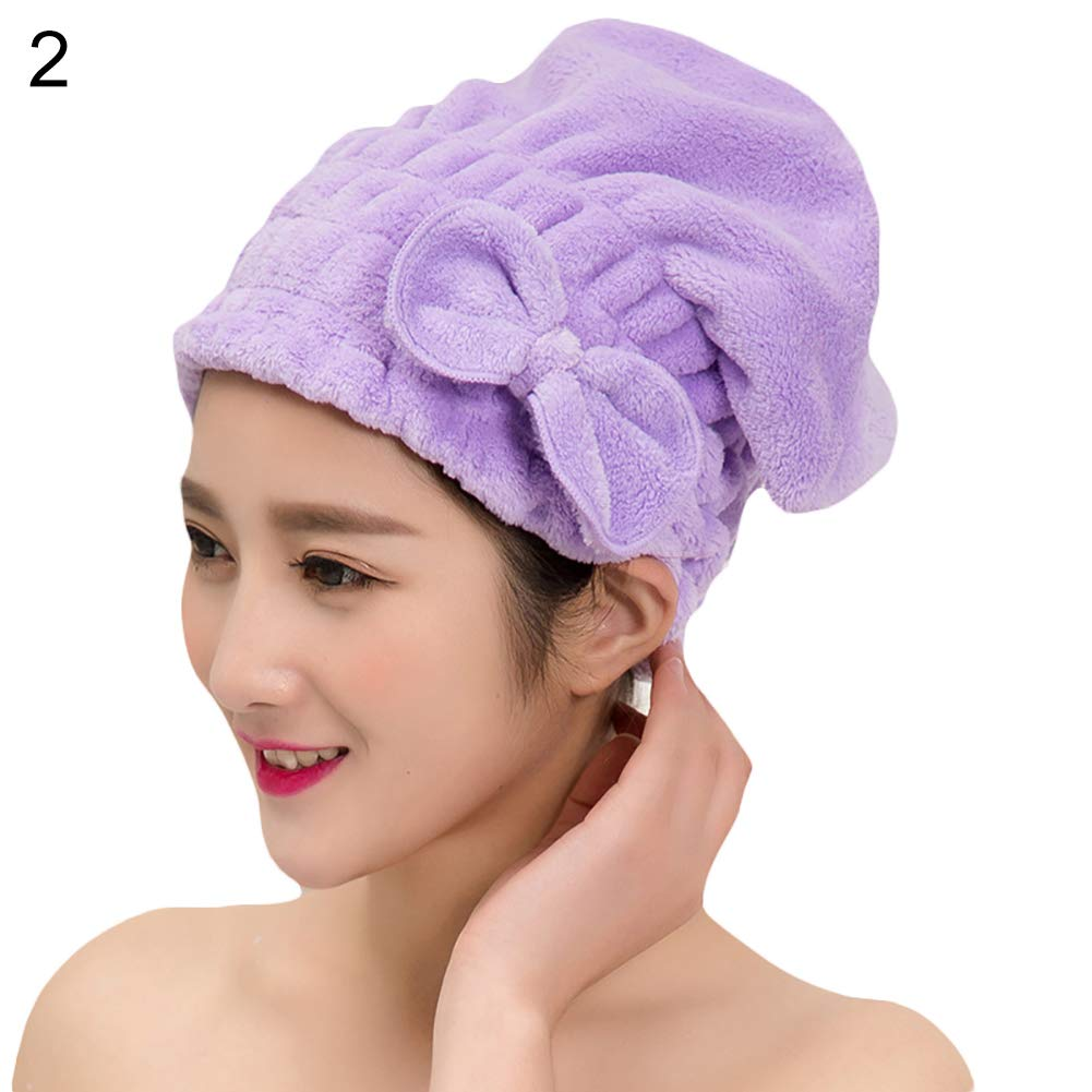Lx10tqy Women Bowknot Coral Fleece Hair Dry Hat Quick Drying Water Absorption Shower Cap - Purple