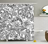 Lunarable Traditional Shower Curtain, Ancient Floral Arrangement with Paisleys Swirled Lines Sketch Style Doodles, Fabric Bathroom Decor Set with Hooks, 105 inches Extra Wide, Black White