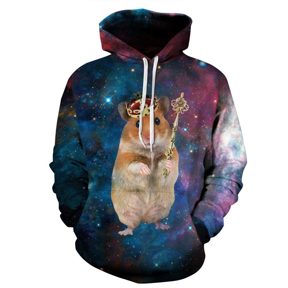 GEFANENR Paare M/änner Frauen 3D Grafik Print Hoodie Pullover Sweatshirt Jacke Pullover Top Crown Hamster