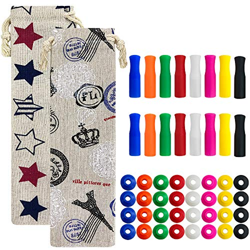 16 Pcs Silicone Straw Tips & 2 Pcs straw carrying case, SENHAI Multi-colored Anti-burn/cold Straw Tips Covers and Silencer Fit Stainless Steel Straws for 20 or 30oz Yeti, - Stainless Silencer