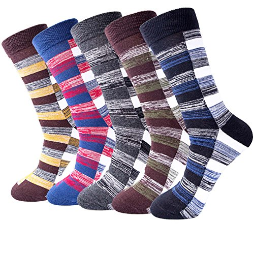 5-pair Mens Fun Cool Cotton Colorful Dress Socks, - Size 7 Mens
