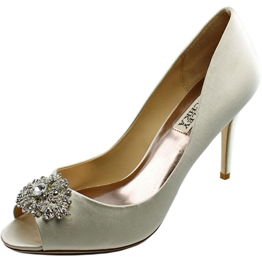 Badgley Mischka Women's Accent Embellished Satin Pump Peep Toe Heel, Ivory, 7 M US