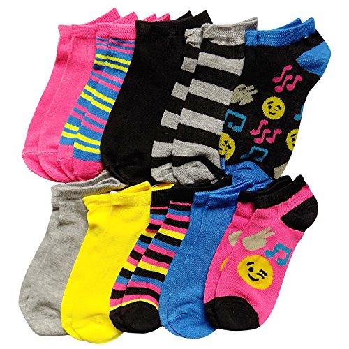 10 Pairs Big Girls Kids Fancy Colorful Patterns Ankle No Show Socks Emoji Prints (Shoe Size 10.5-4 (Sock Size 6-8), Emoji 1) (Emoji 3)
