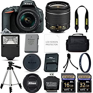 Nikon D5500 Digital SLR Camera AF-P 18-55mm VR Lens Kit - Black + 48GB SD Memory Card + Flash + UV Filter Kit + Tripod + Full Accessory Bundle