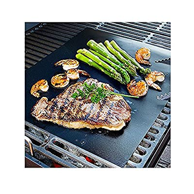 AURA - BBQ Grill Mat - large - 17 x 14 inches (Set of 2) - multipurpose can be used for baking and on ovens - reusable and non stick - can used on electric, charcoal and gas grill-easy clean up by hito