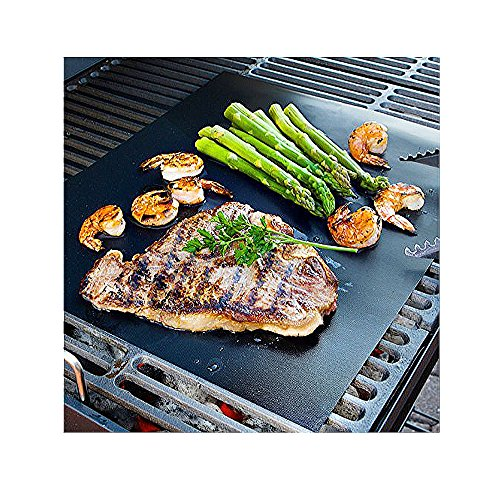 CAILLU BBQ Grill Mat - large - 17 x 14 inches (Set of 2) - multipurpose can be used for baking and on ovens - reusable and non stick - can used on electric, charcoal and gas grill-easy clean up