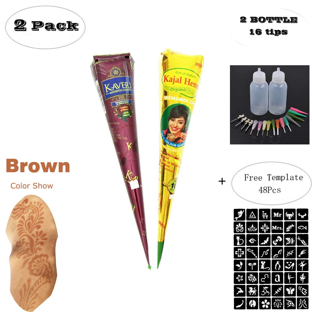 Henna Tattoos Kits - 3 Brown Cone Temporary Tattoo Henna Tattoo Paste Cone for Body Art Painting with 48 x Adhesive Stencil ZEYER
