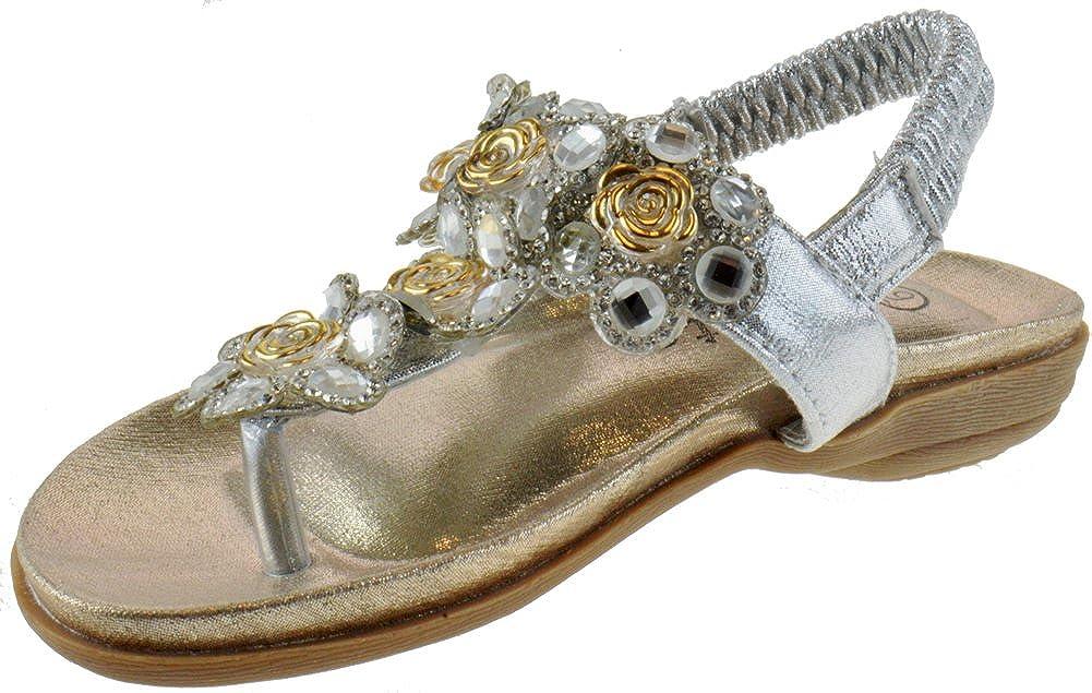 Crab 1716KM Little Girls Gladiator Floral Rhinestone Comfort Flat Sandals Silver 2 CRAB-1717KM