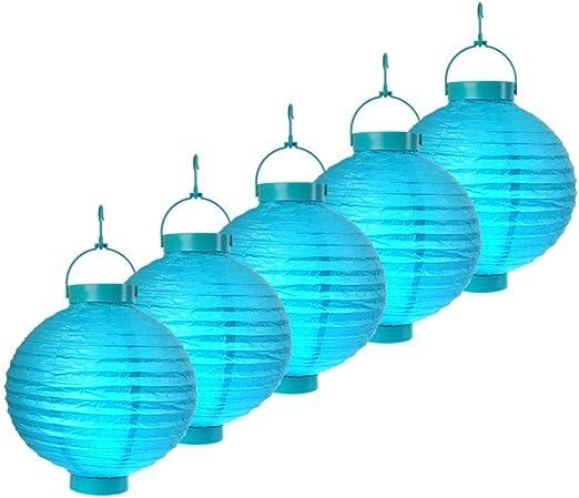 S/o® 5 unidades LED farolillos Azul Farol farolillo Jardín Balcón Terraza Fiesta iluminación decoración: Amazon.es: Jardín