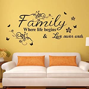 Supzone Family Where Life Begins & Love Never Ends Wall Decals Quotes and Sayings Wall Stickers Big Size Removable Vinyl Art Living Room Bedroom Home Wall Decor