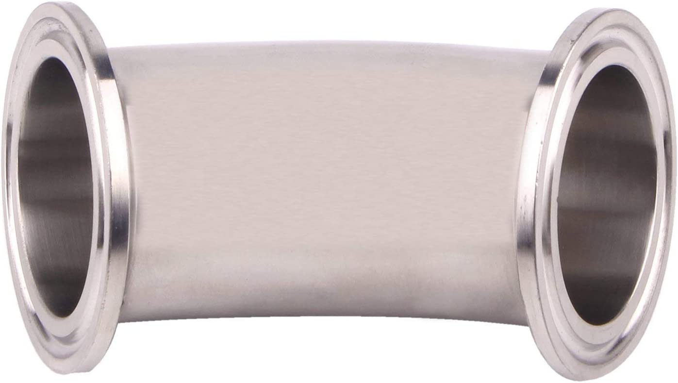 SUS304 Stainless Steel Tri Cover 1-1//2 inch Ferrule with 2 Silicone Gaskets 45 Degree Pip Fitting Fit 1.5 Tri-clamp Flow Solutions Tri Clamp Elbow