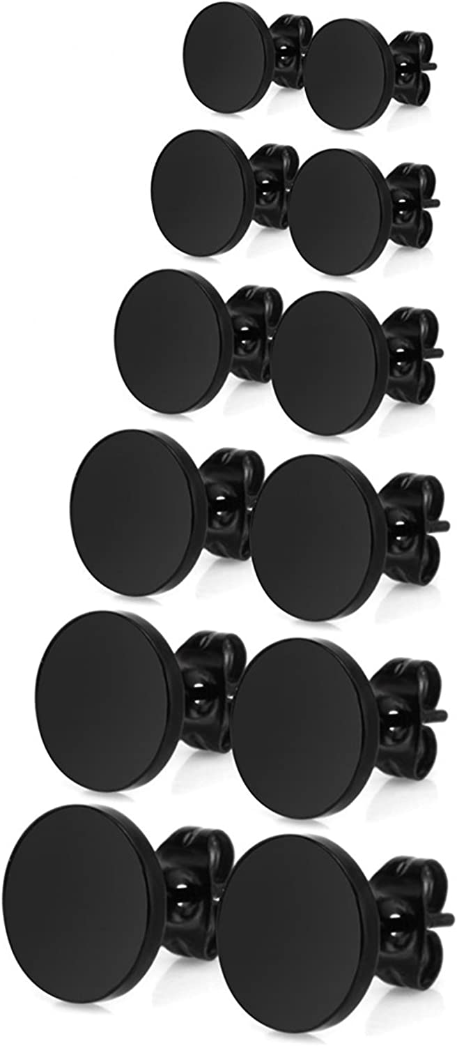 JewelrieShop Dot Earrings Men Black Studs Silver Stainless Steel Disc Circle Round Flat CZ Earring Set for Women (3mm-10mm,5-6 Pairs,Black/Silver)