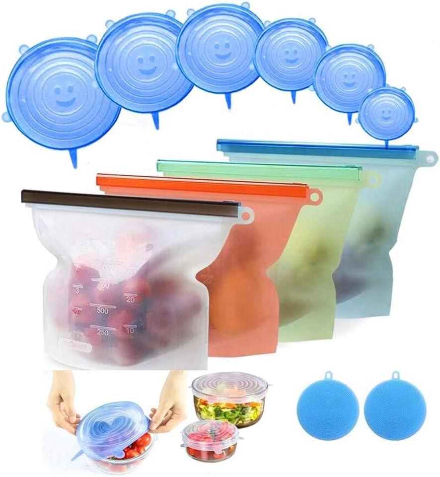 JOQINEER Bolsa de Alimentos, Reutilizables Envase de Bolsas de Preservación Versátil de Grado Silicona Alimenticio para Frutas, Verduras, Sin BPA, higiénica y a Prueba de Fugas (Silicone Bag 12pc)