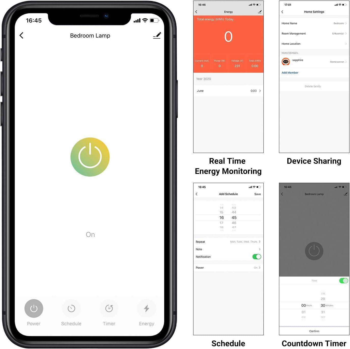 INK-WP02 Enchufe Inteligente 2.4GHz Wifi Smart Plug Compatible con Alexa y Google Assistant con Aplicaci/ón de Control Remoto para iOS y Android Controlar su Dispositivo Desde Cualquier Lugar