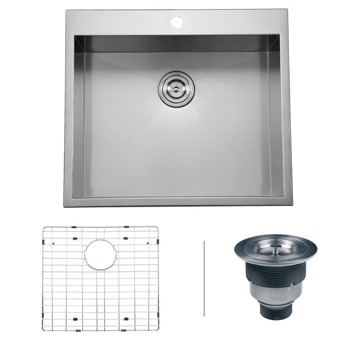 Kitchen Sink 25 X 22 Ruvati rvh8010 overmount 16 gauge 25 kitchen sink single bowl ruvati rvh8010 overmount 16 gauge 25 kitchen sink single bowl stainless steel amazon workwithnaturefo