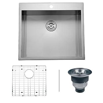 ruvati rvh8010 overmount 16 gauge 25 u0026quot  kitchen sink single bowl stainless steel ruvati rvh8010 overmount 16 gauge 25   kitchen sink single bowl      rh   amazon com