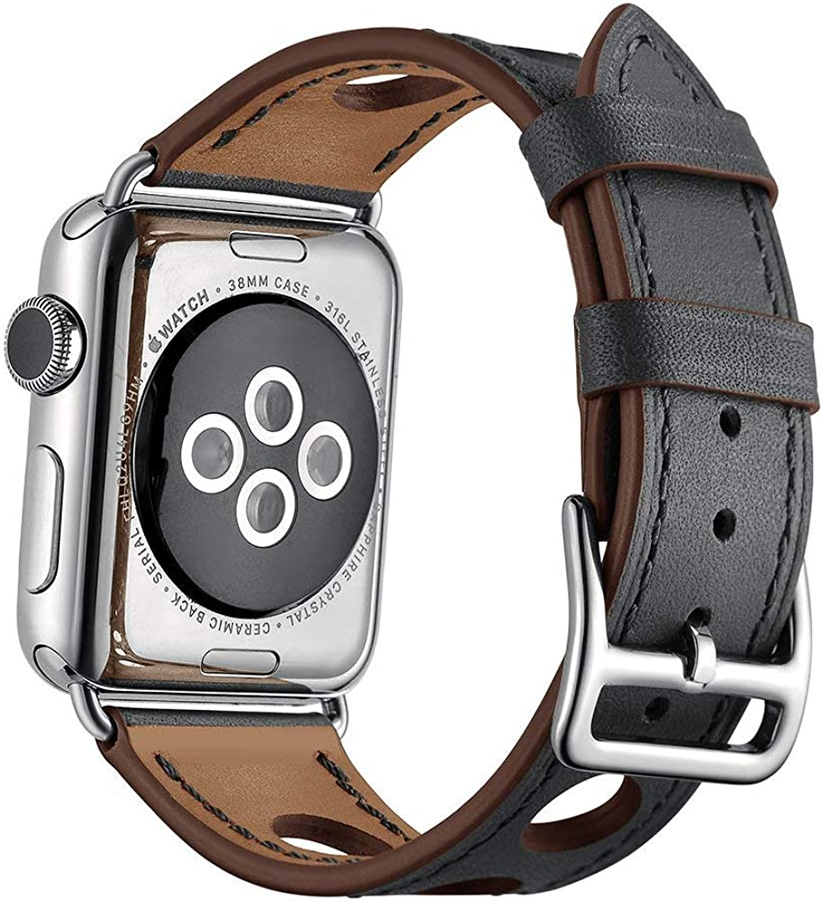 Compatible with Apple Watch 38mm 40mm 42mm 44mm Calf Leather Compatible iWatch Band/Strap Compatible I Watch Series 4 Series 3 Series 2 Series 1,