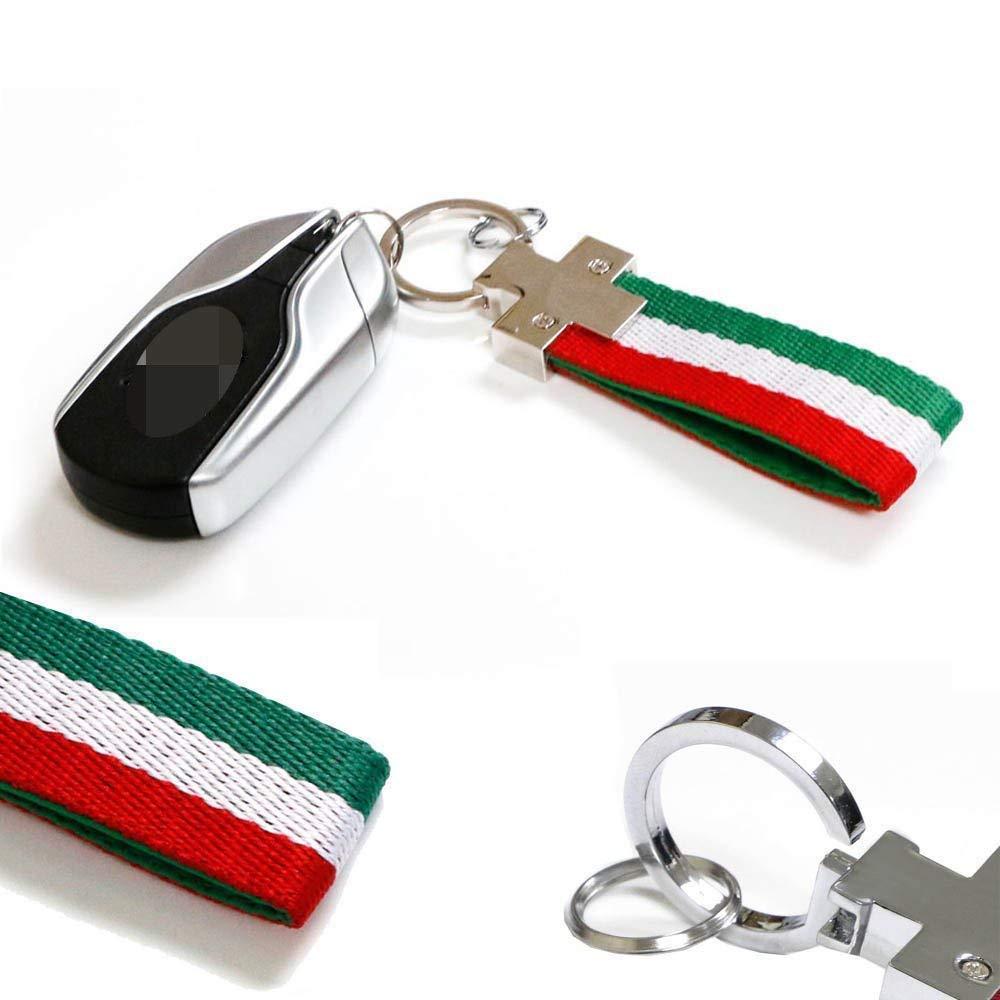 iJDMTOY Italian Flag Stripe Nylon Strap w/Keychain Ring for Alfa Romeo Fiat Ferrari Maserati Lamborghini etc