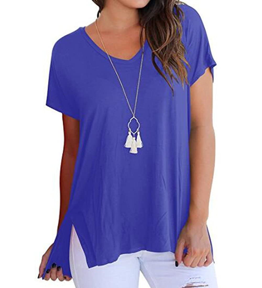 Anave bluee FISOUL Women Tops Short Sleeve V Neck Tee Loose Fit Shirt Casual Basic Side Slits Shirts