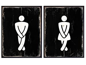 Restroom Sign Set - Funny Male, Female, Boys, Girls, Mens, Womens, Bathroom Wall Art Decor Poster Prints- Unique Decorations for Bar, Cafe, Restaurant, Guest Bath, Powder Room, Home, Apartment