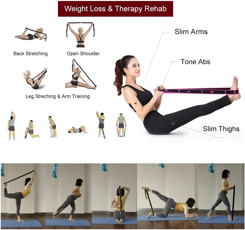 de Fitness JJunLiM Banda el/ástica de Ejercicio de 10 bucles para Crossfit Pilates para Gimnasia para Entrenamiento 15-20 kg Yoga de Baile Banda de Estiramiento o Resistencia