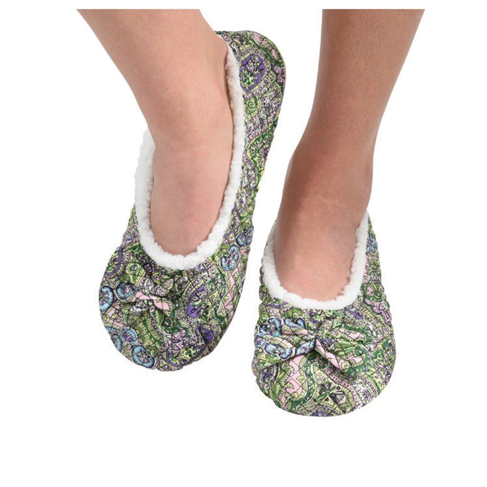 Snoozies Womens Quilted Ballerina Comfort Split Slipper Socks - Green, Large