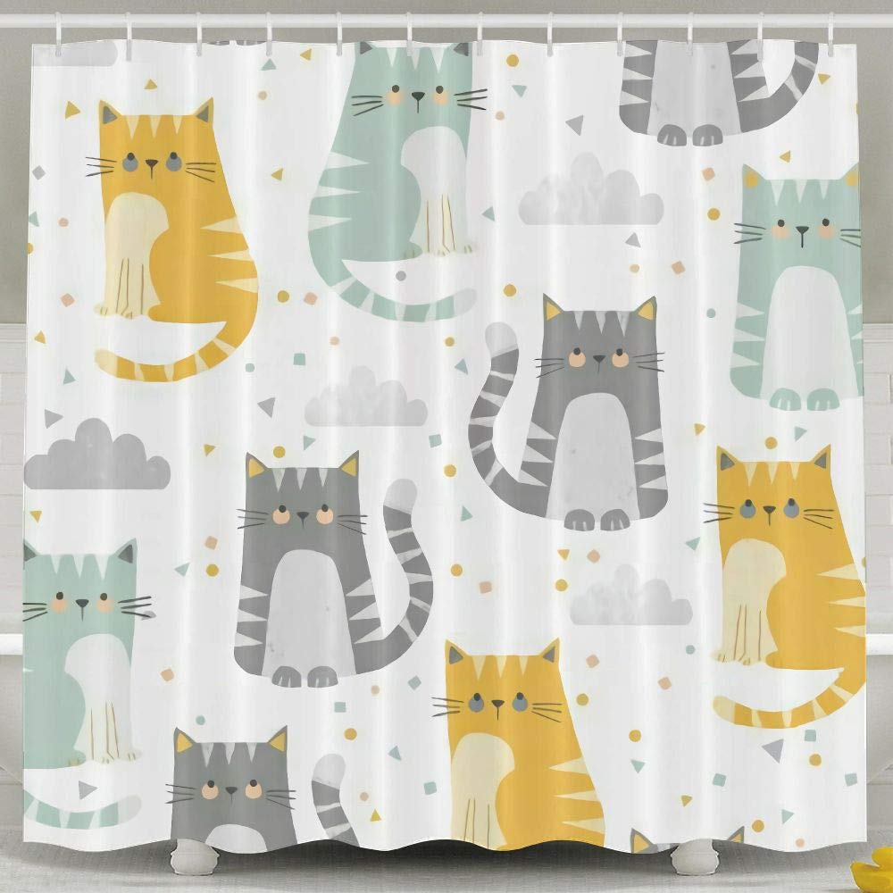 Cute Cartoon Kittens Home Bath Curtains Waterproof Polyester Fabric Decorative Bathroom Shower Curtain 60 X 72