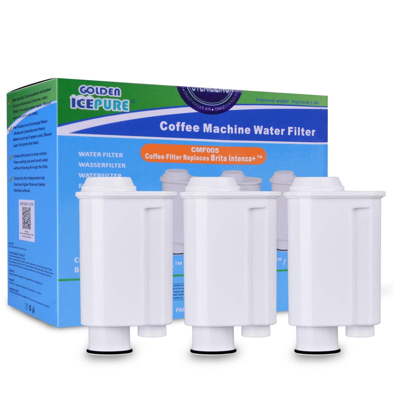 Golden Icepure 3 cartouches filtrantes d'eau compatibles avec les machines à café Saeco-Philipps-Intenza, remplacement pour Saeco Phillips Intenza Lavazza Gaggia Saeco CA6702 / 00
