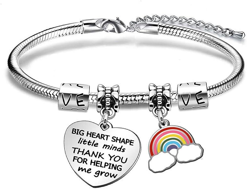 JIYAOANDX - Pulsera para profesores, regalo de agradecimiento, diseño de arcoíris