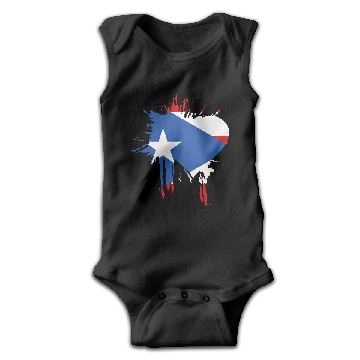 Puerto Rico Flag Map Newborn Crawling Suit Sleeveless Romper Bodysuit Onesies Jumpsuit Black
