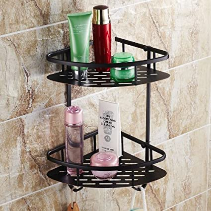 Rozin Oil Rubbed Bronze Solid Brass Wall Mounted Dual Tier Corner ...