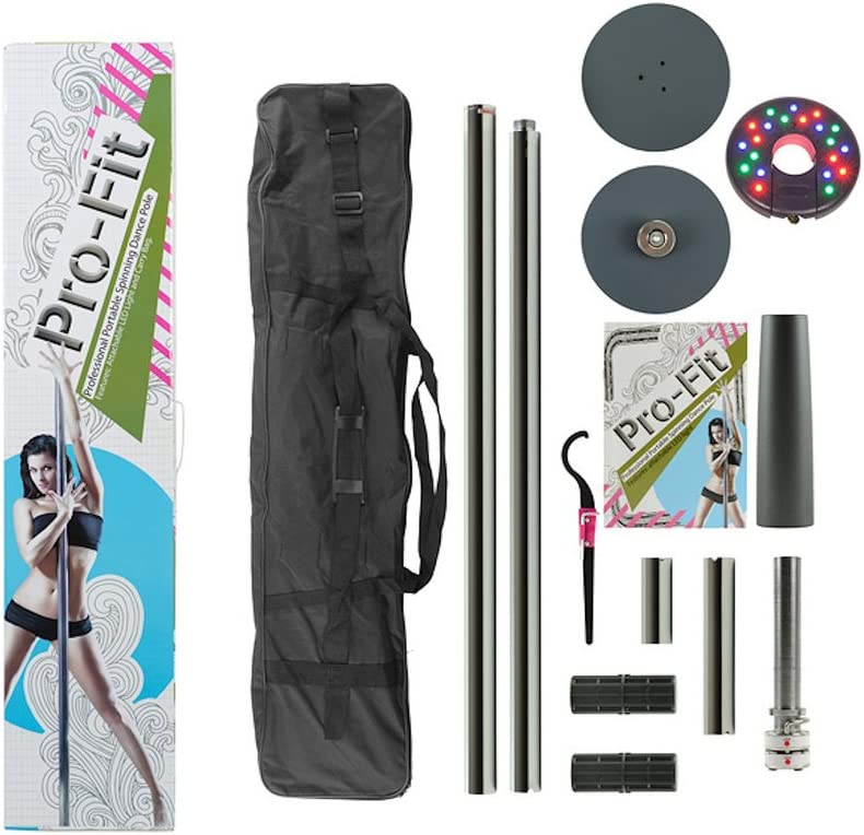 Pro-Fit 50mm Professional Portable Spinning Dance Pole with LED Dance Light and Carry Bag