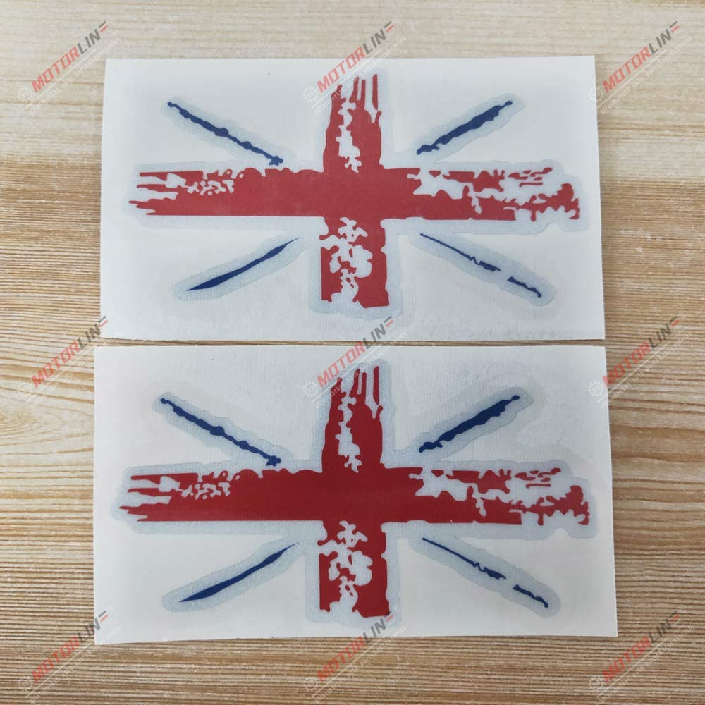 3S MOTORLINE 2X Reflective 5 UK British Flag Union Jack Side Mirror Rearview Decal Sticker Car Vinyl Distressed