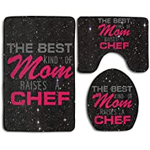 The Best Kind Of Mom Raises A Chef Fashion Bath Mat Set 3 Piece Bathroom Mats Set Non-Slip Bathroom Rugs/Contour Mat/Toilet Cover