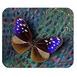 Peacock Feather and Butterfly Personalized Rectangle Mouse Pad